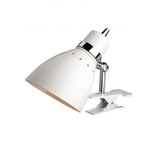 Witte fabriekslamp Linton met klep