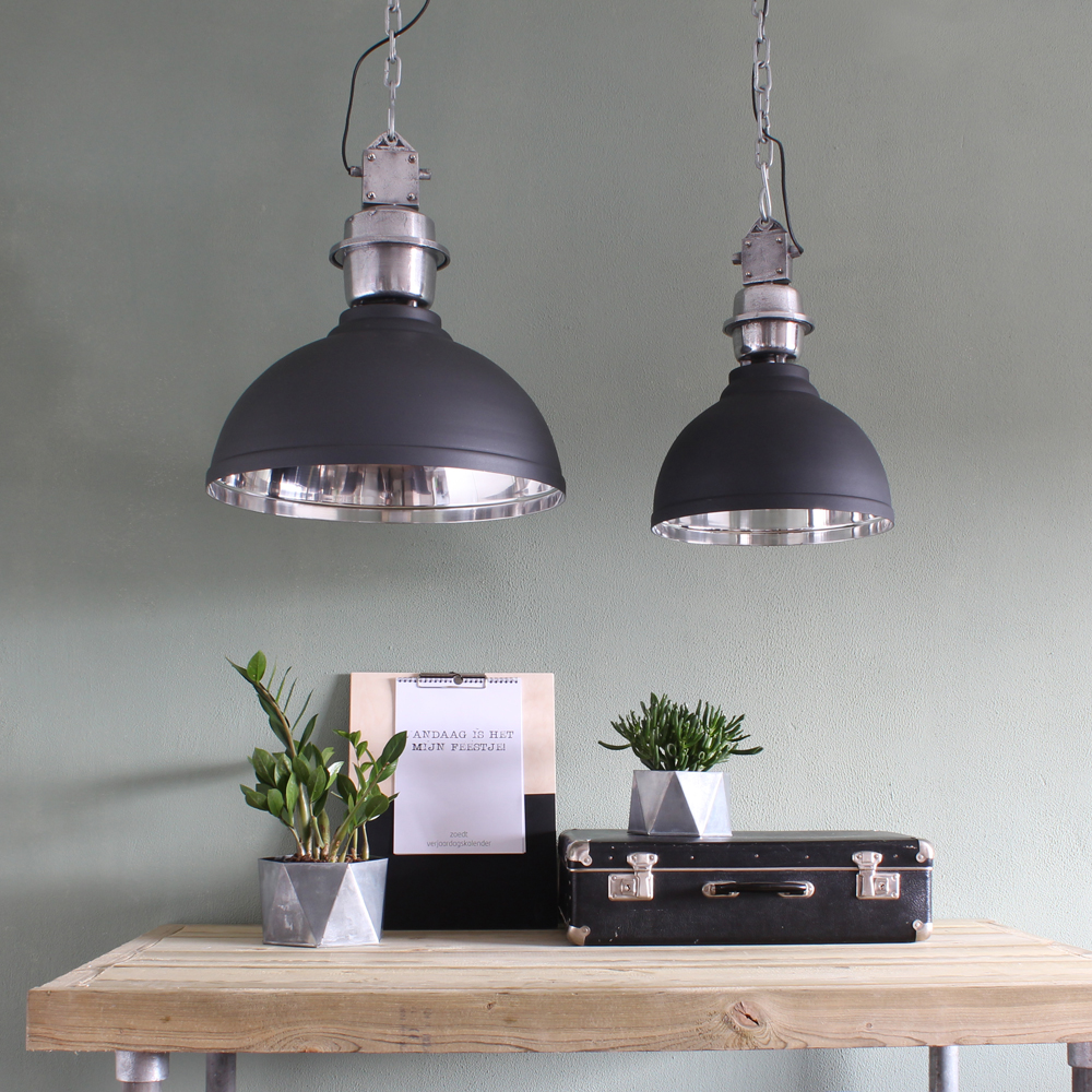 Stoere industri le hanglamp grijs clinton 35cm for Kleine industriele hanglamp