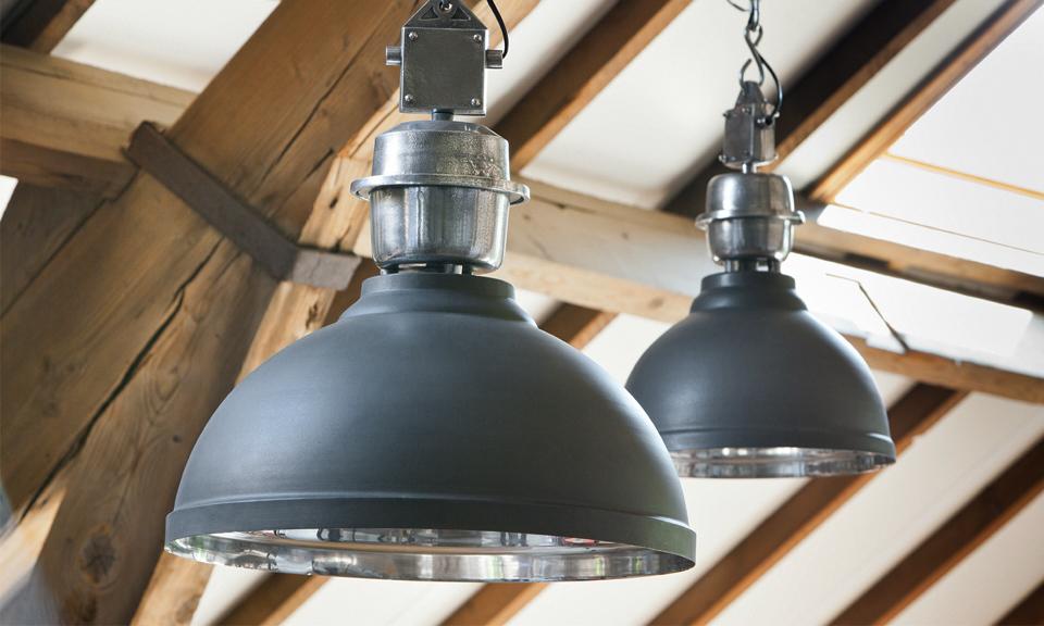 Stoere industriu00eble hanglamp grijs (Clinton) 35cm