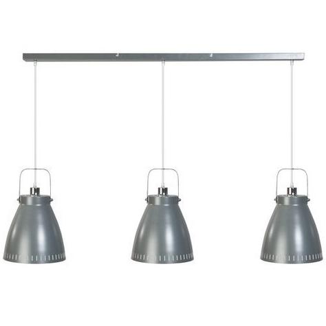 Hanglamp met drie industriele kappen aan een balk.