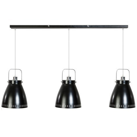 Zwarte hanglamp met drie industriele metalen kappen