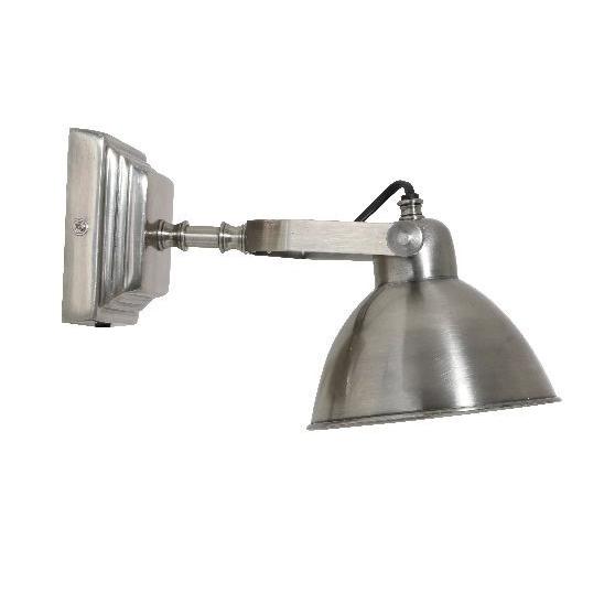 Klassieke industri le wandlamp uitgevoerd in oud zilveren for Stoere wandlamp