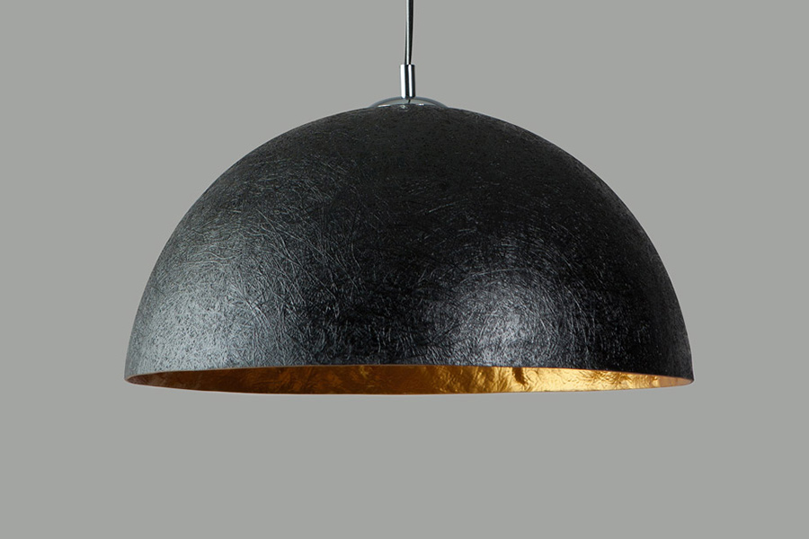XXL hanglamp 100 cm zwart met gouden binnenkant