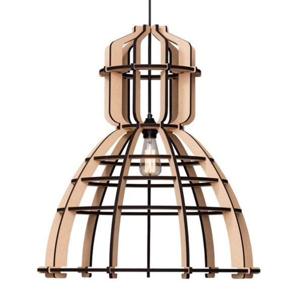 Houten hanglamp framelamp