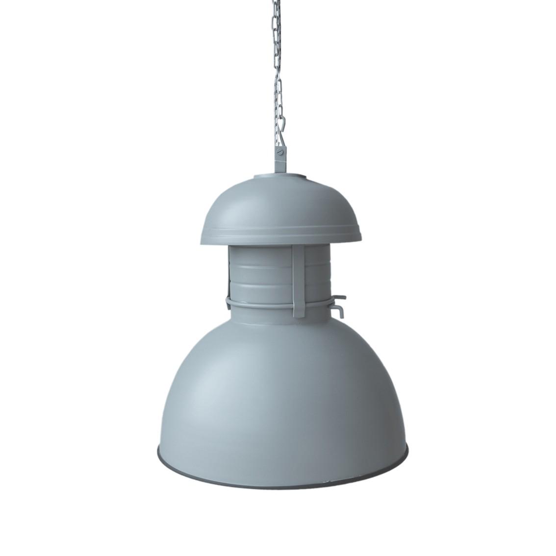 Ribbelglas hanglamp staal en glas