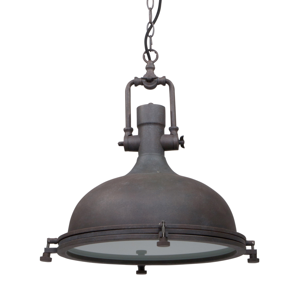 Stoere hanglamp elmo bruin 40 cm industriele lampen online for Lamp industrieel