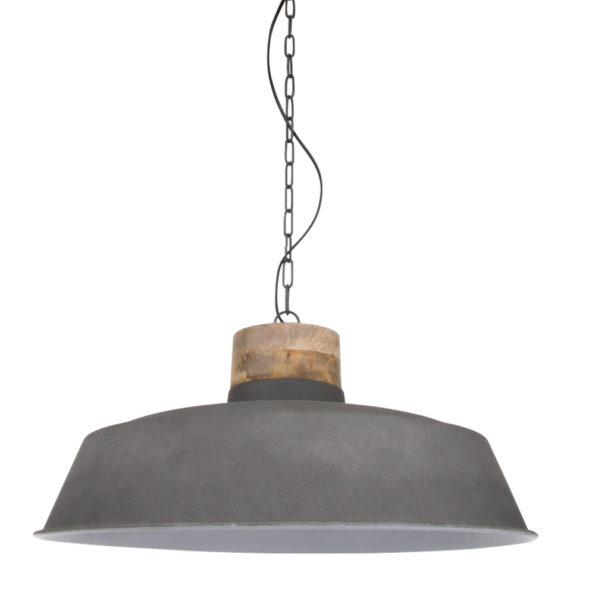 Grijze hanglamp met houten kop