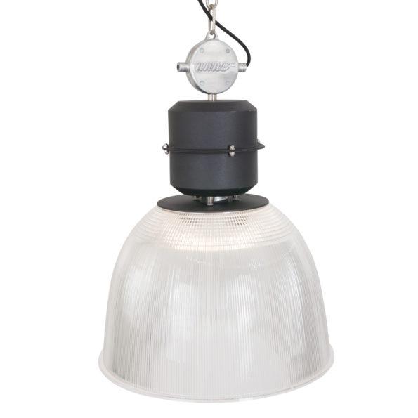 Transparante hanglamp met industriele look
