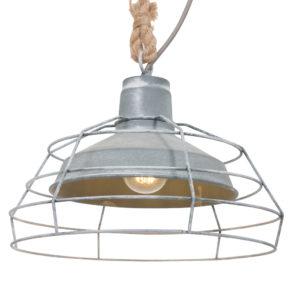 Grijze kooilamp met raster Reva