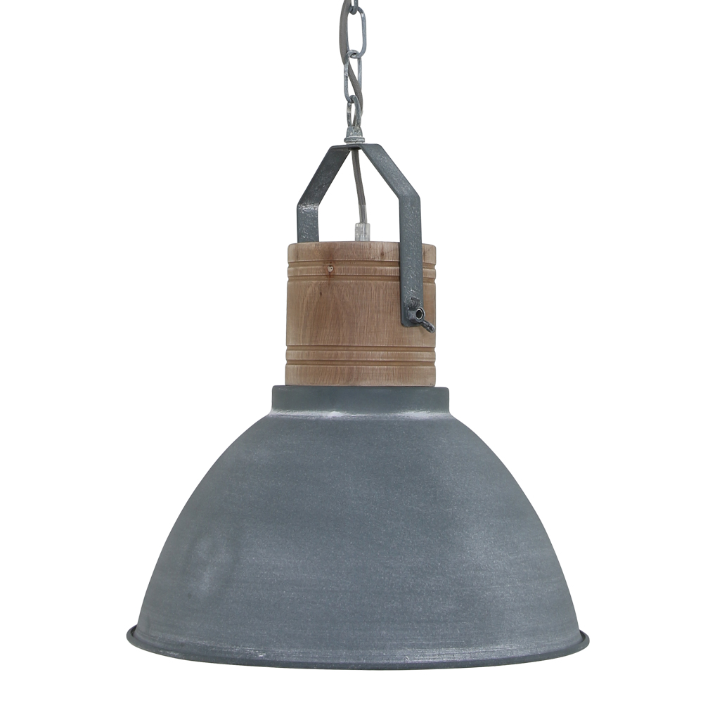 Grijze Hanglamp Met Houten Opzetblok