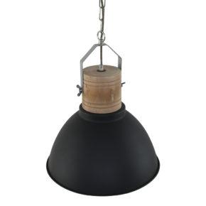 zwarte hanglamp met houten opzetblok