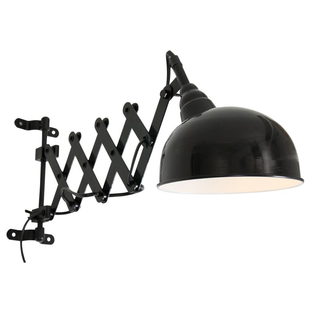 Stoere industri le zwarte schaarlamp boet wandlamp for Stoere wandlamp