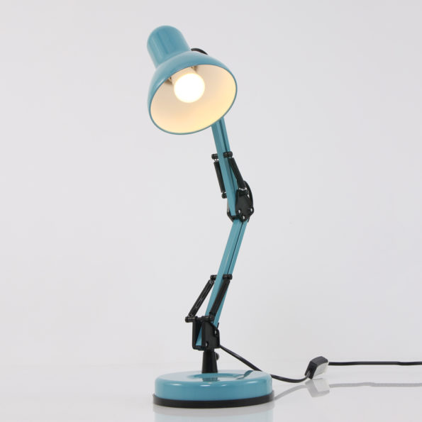 blauwe industriele tafellamp