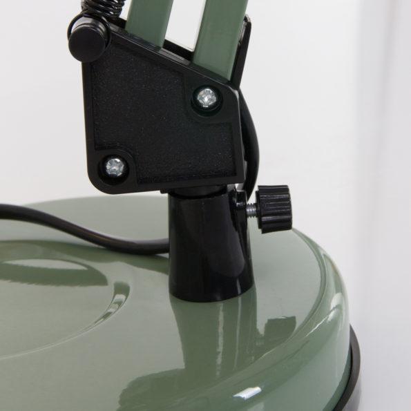 detail voetplaat groene tafellamp