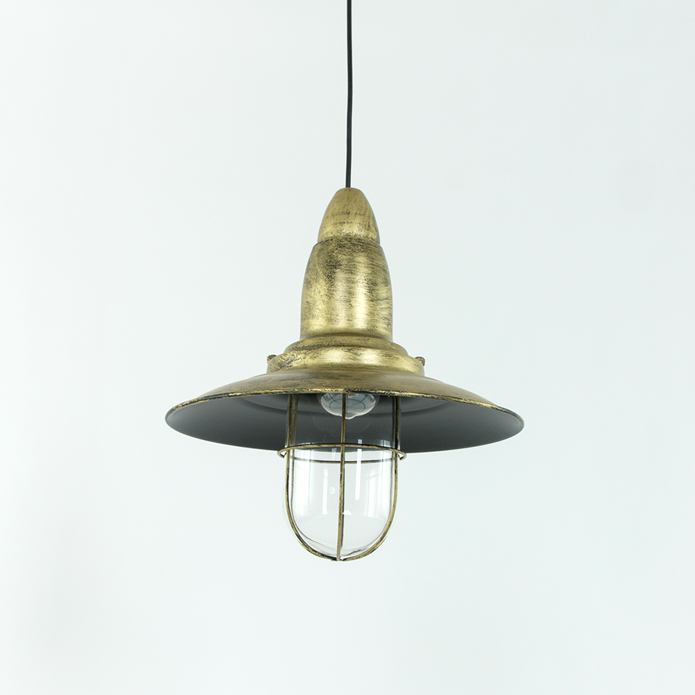 Hoedvormig hanglampje koko brons industriele lampen online for Landelijke lampen