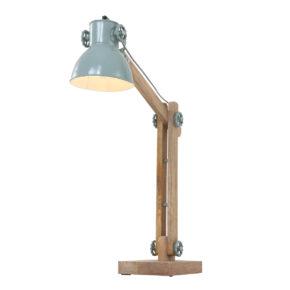 blauwe bureaulamp hout