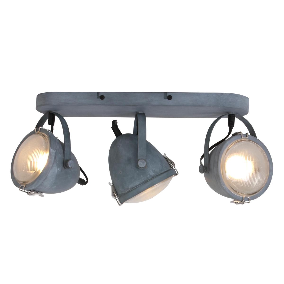 Drielichts grijze plafondlamp mexlite 1314gr industriele for Industriele spots