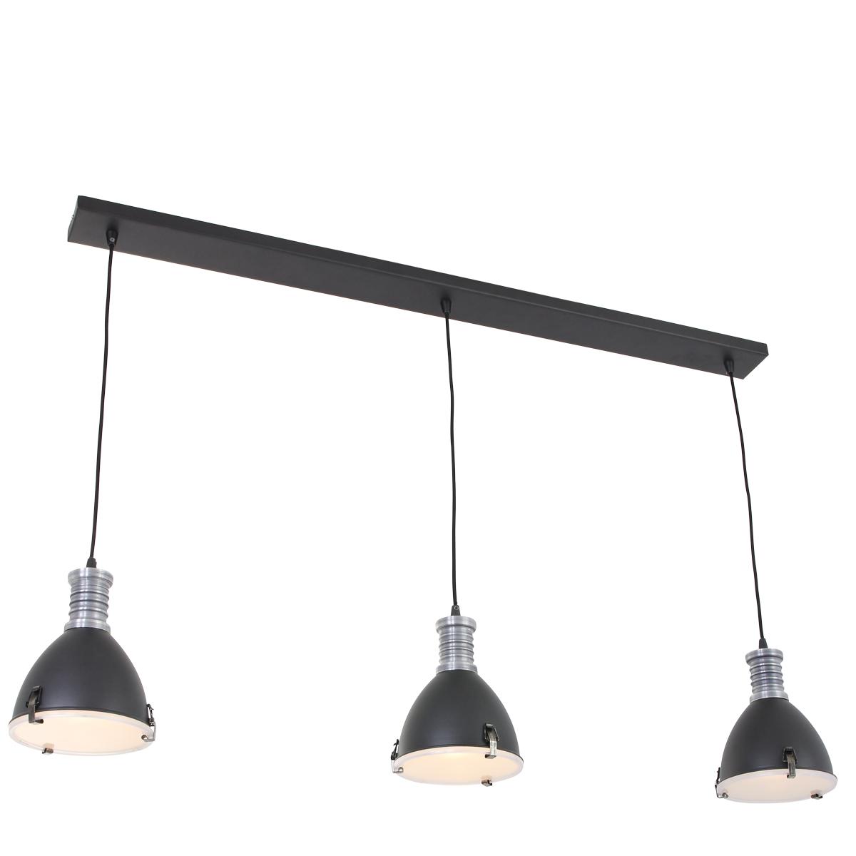 Drielichts industri le hanglamp brock industriele lampen for Kleine industriele hanglamp