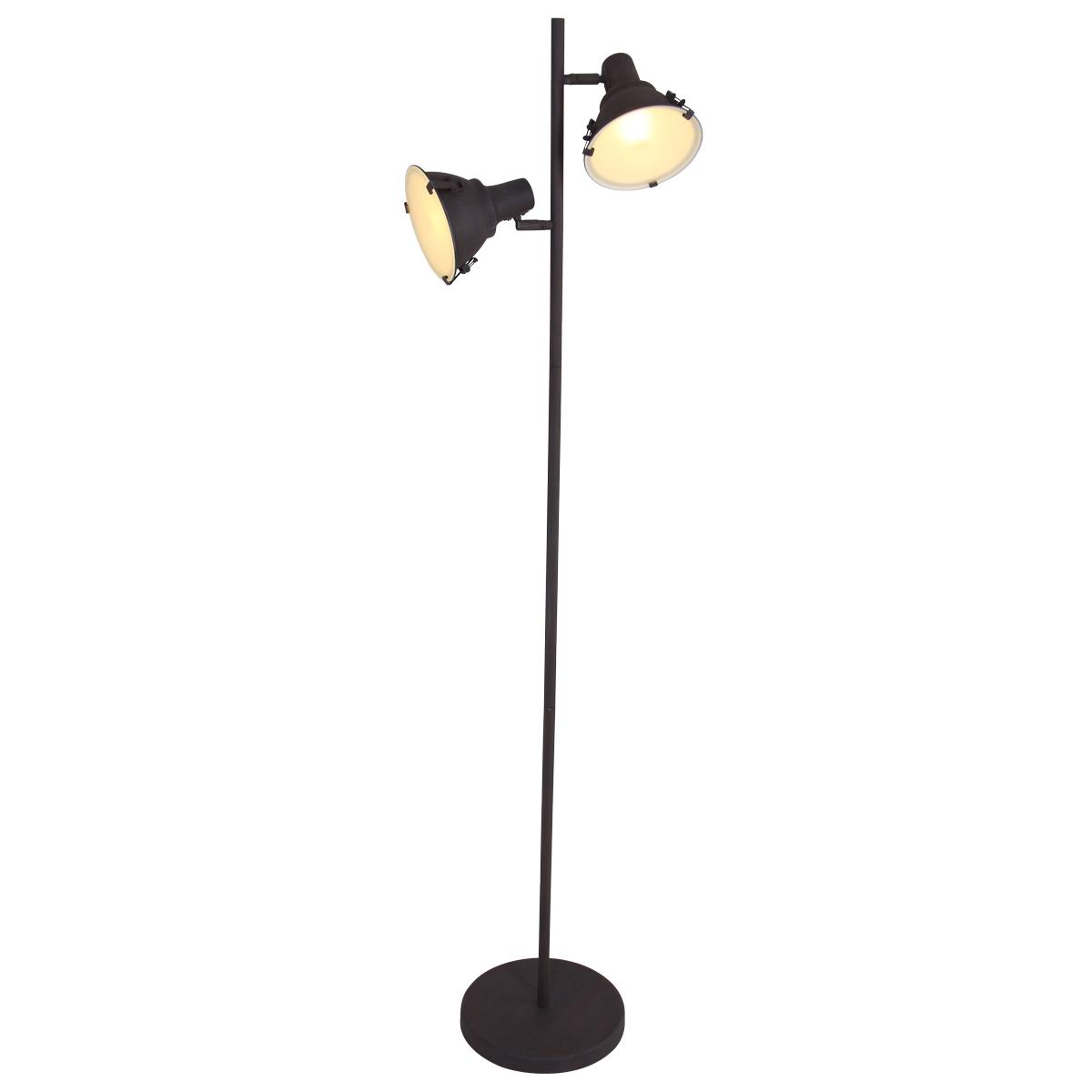 Industri le vloerlamp jona duo bruin industriele lampen for Industriele vloerlamp