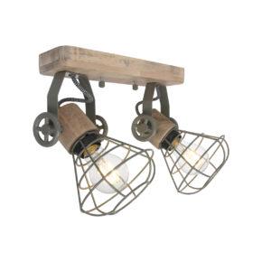 Houten plafondlamp Geurnsey groen-1579G