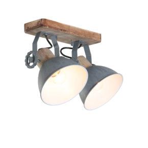 Houten plafondlamp York grijs-7969GR