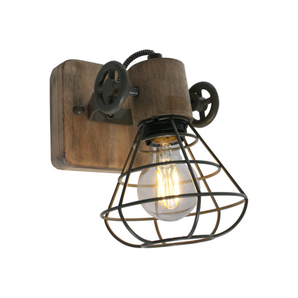 Houten wandlamp Guernsey groen-1578G