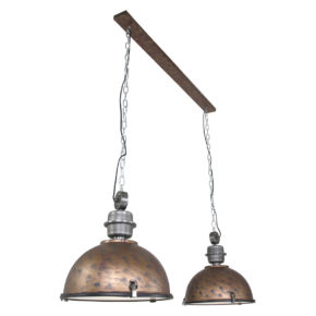 Metalen hanglamp Bikkel Duo bruin-7979B